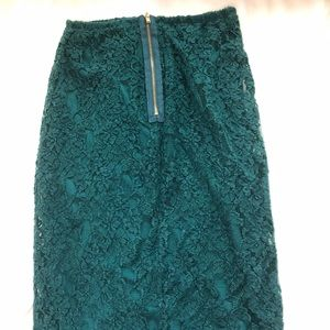 Xhilaration Skirts - Hunter green lace pencil skirt